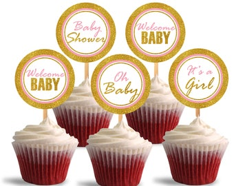 Baby Shower Cupcake Toppers, It's a Girl Printable Cupcake Toppers, Pink and Glitter Gold - Instant Download - DP486