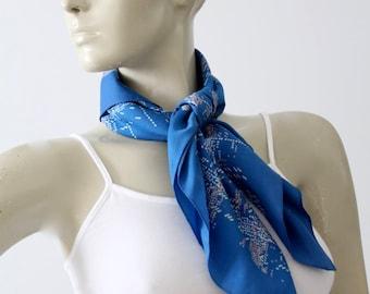 vintage scarf, blue hair scarf, printed summer scarf
