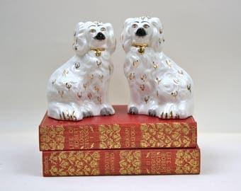 Pair of Staffordshire Dogs, English Spaniel Dogs, White and Gold Dogs, English Decor, Beswick England, Vintage Dog Home Decor