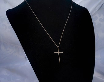 Vintage Sterling Cross Pendant, Sterling Silver Cross pendant and Chain, Sterling Chain