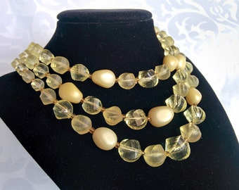 Triple Strand Yellow Choker West Germany, Yellow Beaded Necklace, Yellow 3 Strand Necklace