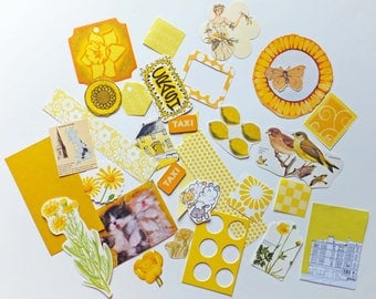 Yellow Scrap Pack, Scrap-booking Pack, Collage papers, paper scraps, Paper Ephemera pack, 30 pieces inspiration kit