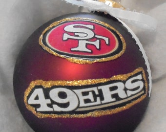 NFL San Francisco 49ers 4 Inch Xmas Glass Sparkly Ornament - New - Great Gift -