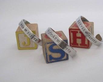 BIG SISTER Hand Stamped Child Bracelet