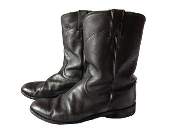 Vintage Black Leather Motorcycle Boots Women's 9.5