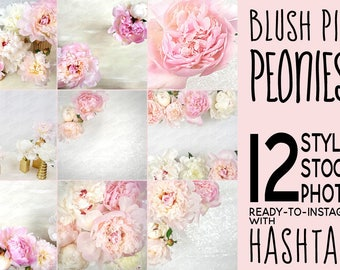 12 Floral Stock Photos: Ready-to-Instagram with Hashtags for Social Media / Blush Pink Peonies & Sequins / Flower Styled Stock Photo Bundle