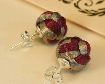 Chinese Knot Pearl Stud Earrings with 925 silver earwire - Maroon and Brownish Gray
