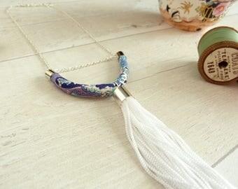 White Tassel Necklace -Blue Bar Necklace - Paisley necklace - Statement Fringe Jewelry - Bohemian Necklace - Summer Festival Fashion