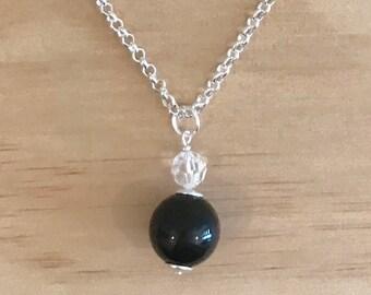 Short Swarovski and Black Basics Acrylic Ball Pendant Necklace - Free Shippings Worldwide