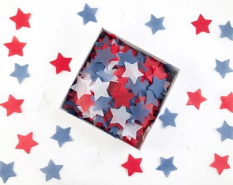 U-S-A! U-S-A! Stars | Patriotic Tissue Paper Confetti / Table Confetti | great for Fourth of July, election day, citizenship party