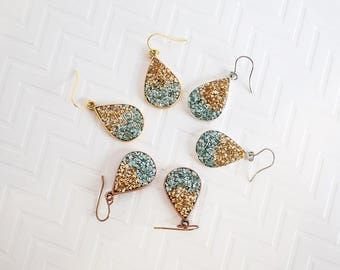 Turquoise & Gold Teardrop Earrings, Teardrop Druzy Earrings, Glitter Rock Earrings, Silver Teardrop Earrings, Silver Bridesmaid Earrings