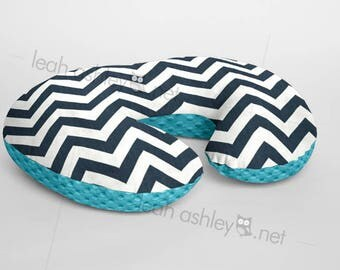 Boppy® Cover, Nursing Pillow Cover - Navy/Ivory Chevron MINKY with Turquoise MINKY Dot or MINKY Smooth - Choose Your Minky Type - BC2