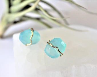 Blue Chalcedony Earrings / Gemstone Earrings / Stud Earrings / Gift For Bridesmaid / Bridesmaid Gift / Boho Earrings / Natural Glam Jewelry