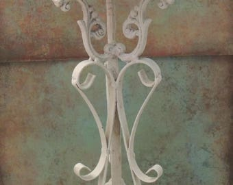 country chic lighting. white iron candlestick candle holder cottage shabby chic lighting country