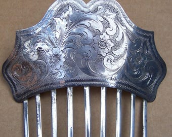 Early Victorian silver plated hair comb hair jewelry decorative comb hair ornament hair accessory headdress