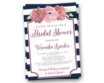 Burgundy Shower Invitations, Burgundy Bridal Shower Invitations, Burgundy Floral Invitations