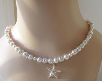 Starfish Necklace, Bridal Necklace, Bridesmaid Necklace, Bridal Jewellery,Beach Wedding Jewelry,Pearl Necklace,Swarovski Pearls, Rhinestones