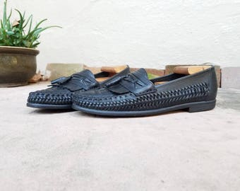 Vintage Mens 8.5 Nunn Bush Loafers Black Leather Woven Tassel Fringe Loafers Oxfords Huaraches Boat Deck Shoes Fisherman Sandals Dress Shoes