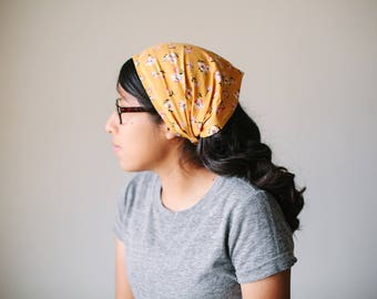Yellow Floral Short Chiffon Headcovering | Women's Headcovering Veil