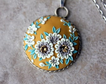 Gorgeous Polymer Clay Applique Statement Pendant Necklace in Mustard, Creme and Mint