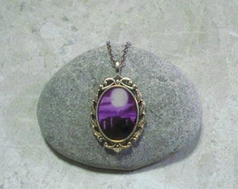 Stonehenge Necklace Full Moon Pendant Jewelry Black And Purple