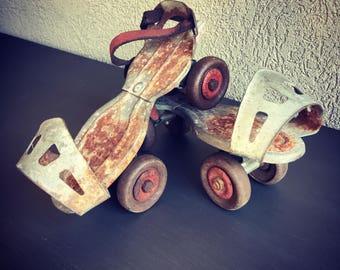 Vintage Metal Sidewalk Skates Street Adjustable Shoe - #R0036