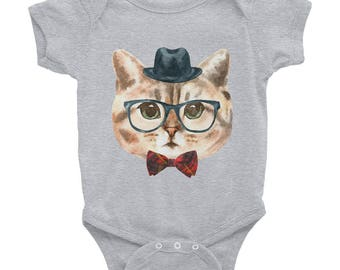 Hipster Cat Body Suit Baby Shower Gift Onesie