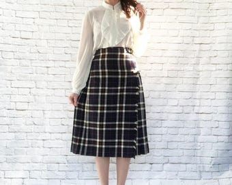 Vintage 50s Plaid Pleated Wrap Scottish Kilt Midi Skirt S M Navy Fringe Buckles Wool