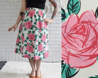 Vintage A-Line Skirt with Pink and Green Rose Print with Elastic Waist Size XS or Small