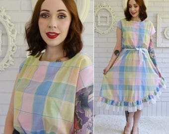 Vintage 1970s Pastel Plaid Cotton Blend Dress with Ruffled Hem by Entourage Size Small or Medium