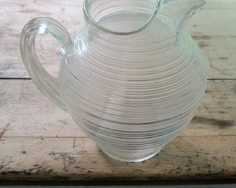 Depression Glass Water Pitcher / Clear Circular Ribbed Beverage Jug