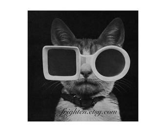 Cat Art Print, Black and White, Cat with Sunglasses, Retro Art, Paper Collage Print, Animal Wall Decor, 7x7 on 8.5 x 11 inch paper