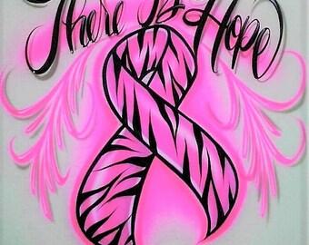 Airbrush T Shirt Cancer Ribbon, Breast Cancer Shirt, Cancer Ribbon Shirt, Airbrush Shirt, Ribbon Shirt, Cancer Shirt, Airbrush, Hope Shirt