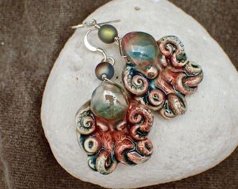 Blue Raku Octopus Earrings