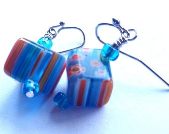 Summer Fling Blue and Orange Earrings