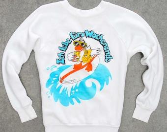"Weird German Duck Sweatshirt ""Ich Iebe Furs Wochenende"" Weekend Vintage Fleece XS Fleece 7NN"