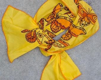Butterfly Scarf Vintage Yellow & Orange 1960s Pinup Silk Scarf 7NH