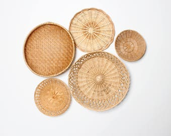 Vintage Basket Wall Collection Set of 5