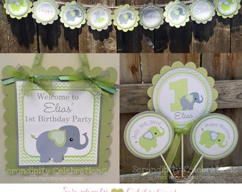 Elephant Party Package -Party Bundle -Elephant Birthday -First Birthday -Baby Shower -Banner -Centerpiece -Party Sign -Grey Elephant Party