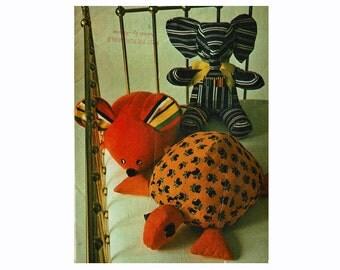 1970s Sewing Pattern Set of Stuffed Animals Butterick 3419 Elephant Mouse Turtle Uncut Sewing Pattern 70s