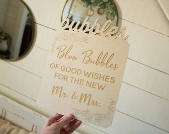 Bubbles Sign Blow Bubbles Sign Wedding Bubbles Sign Rustic Wedding