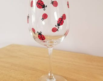 Ladybugs Hand-painted Wine Glass- free personalization available!