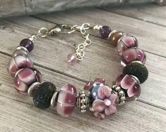 Purple flower handmade lampwork bracelet - glass flower bracelet - floral bracelet - Gift ideas for wife - Statement Bracelet