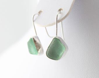 Sterling Silver Sea Glass Earrings, Beach Glass Earrings, Sea Glass Earrings, Sea Glass Jewelry, Beach Glass Jewelry, Drop Earrings, Silver