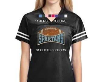 Rhinestone football with custom glitter team name jersey