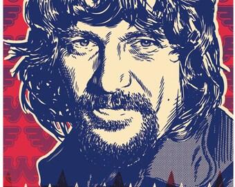 13 x 19 Waylon Jennings poster, Waylon Jennings wall art, Waylon Jennings art print, Waylon Jennings art, Wall decor, Gift, Home decor