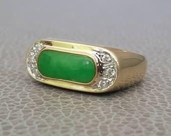14K Jade & Diamond Ring Saddle Ring Size 8
