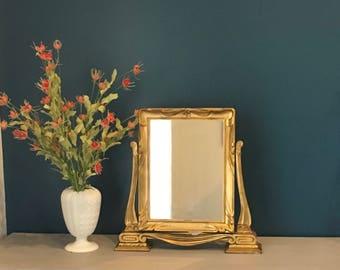 Vintage Wood Vanity Swivel Mirror