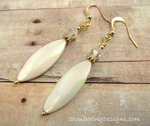 Mother of Pearl Ovals and Swarovski Crystal Earrings