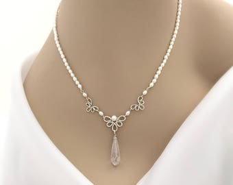 Freshwater Pearl Bridal Necklace with Cubic Zirconia Drop